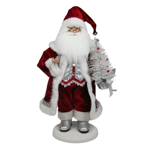 "19"" Red White and Silver Santa Claus with Christmas Tree Tabletop Decoration"