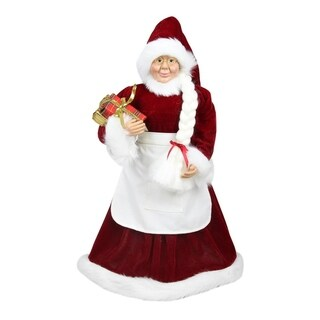 """24"""" Standing Mrs. Claus with Braided Hair and Gifts Christmas Figure"""