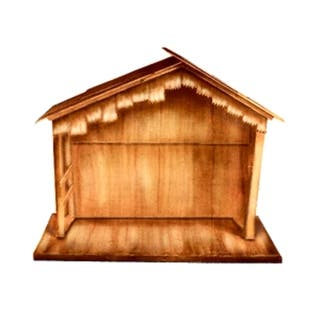 """74"""" Large Wooden Outdoor Religious Nativity Stable Christmas Yard Art Decoration