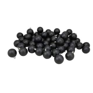 60ct shiny jet black shatterproof christmas ball ornaments 25