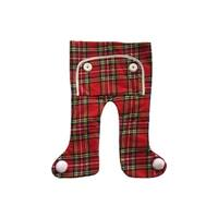 """16"""" Traditional Red Plaid Long John Christmas Stocking with Pom Poms"""