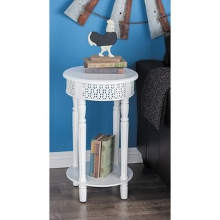 Studio 350 Wood White Side Table 15 inches wide, 27 inches high