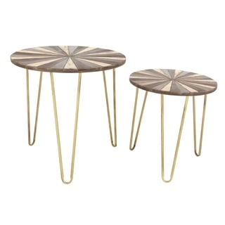 Studio 350 Metal Wood Accent Table Set of 2, 19 inches, 23 inches high