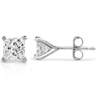 Annello by Kobelli Platinum 1ct TDW Princess Diamond Stud Earrings