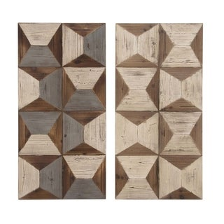 Studio 350 Wood Wall Panel Set of 2, 19 inches wide, 40 inches high - White