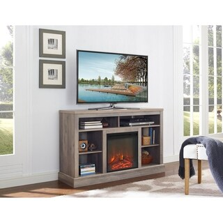 52-inch Fireplace TV Stand with Open Storage - Grey Wash