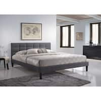 Lexington King-Size Square Tufted Upholstered Platform Contemporary Bed in Gray Fabric