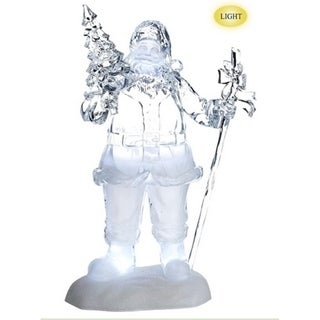 "16"" Icy Crystal Jolly Santa with Tree LED Lighted Musical Christmas Figure"