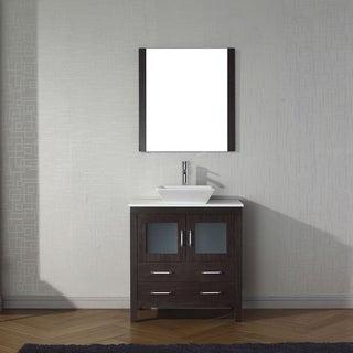 Virtu USA Dior 32-inch White Stone Single Bathroom Vanity Set with Faucet Options