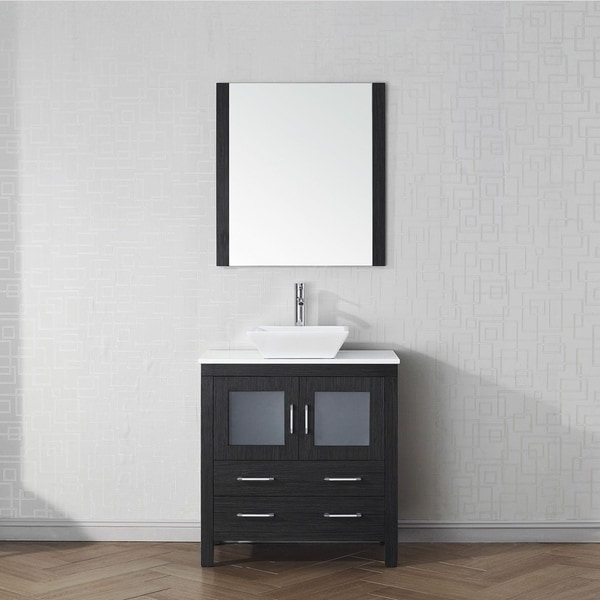Virtu USA Dior 32 Inch White Stone Single Bathroom Vanity Set With Faucet  Options   Free Shipping Today   Overstock.com   23603490