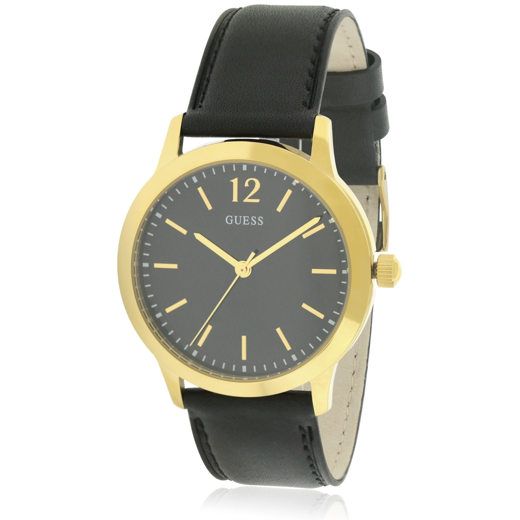 Guess Leather Ladies Watch U0922G4, Black, Size One Size ...