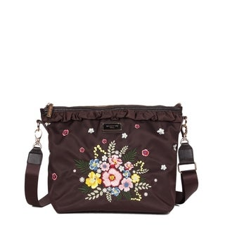 Nicole Lee Brown Embroidered Design Nylon Leather Trimming Crossbody Bag
