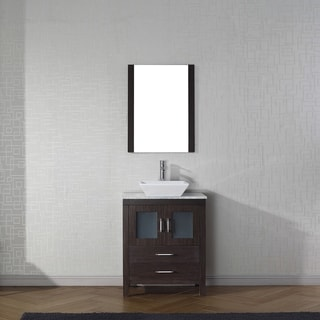 Virtu USA Dior 28-inch White Marble Single Bathroom Vanity Set with Faucet Options
