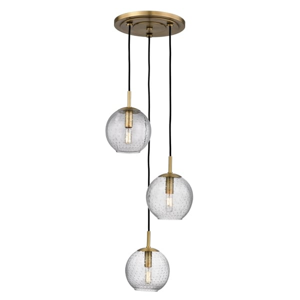 Hudson Valley Rousseau Aged Brass Metal 3-light Cluster Pendant, Clear Glass