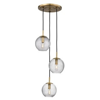 Hudson Valley Lighting Rousseau Aged Brass Metal/Clear Glass Shade 3-light Cluster Pendant