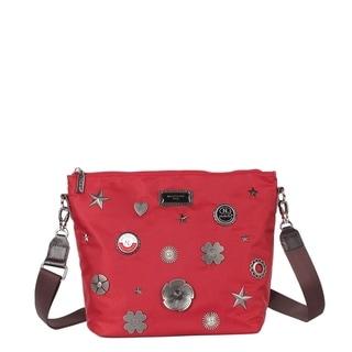 Nicole Lee Red Nylon Metallic Design Studs Leather Trimming Crossbody Bag