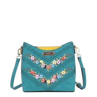 Nicole Lee Blue Embroidered and Sequin Design Crossbody Bag