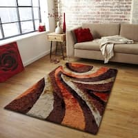Rug AddictionOrange Rust Beige Brown Two Inch Pile Thickness Hand Tufted Silky Shag Area Rug - 5' x 7'