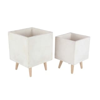 Studio 350 Fiber Clay Wood Planter Set of 2, 15 inches, 18 inches high