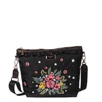 Nicole Lee Black Embroidered Design Nylon Leather Trimming Crossbody Bag.  Sale 14bed56c704c8