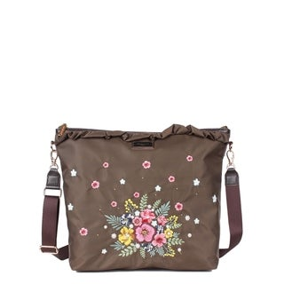 Nicole Lee Khaki Nylon Embroidered Design Nylon Leather Trimming Crossbody Bag
