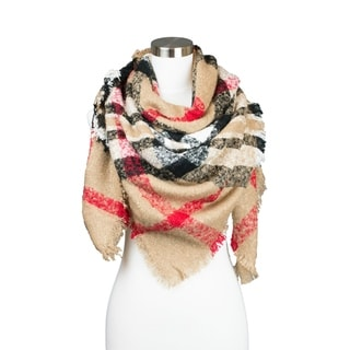Womens Soft Textured Plaid Pattern Square Blanket Winter Scarf
