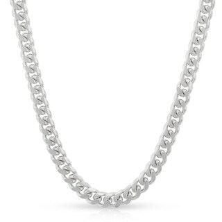"Sterling Silver Italian 4mm Miami Cuban Curb Link Thick Solid 925 Rhodium Necklace Chain 16"" - 30"""
