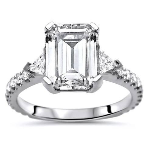 9x7 Emerald Moissanite Trillion Cut Diamond 3 Stone Engagement Ring 14k White Gold