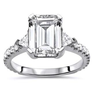 9x7 Emerald Moissanite Trillion Cut Diamond 3 Stone Engagement Ring 14k White Gold. Opens flyout.