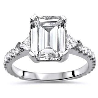 Noori 9x7 Emerald Moissanite Trillion Cut Diamond 3 Stone Engagement Ring 14k White Gold