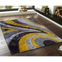 Rug Addiction Yellow Silver Gray Two Inch Pile Thickness Hand Tufted Silky Shag Area Rug - 5' x 7'
