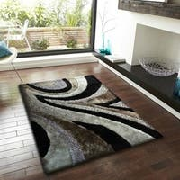 Rug Addiction Black Gray Silver Two Inch Pile Thickness Hand Tufted Silky Shag Area Rug - 5' x 7'