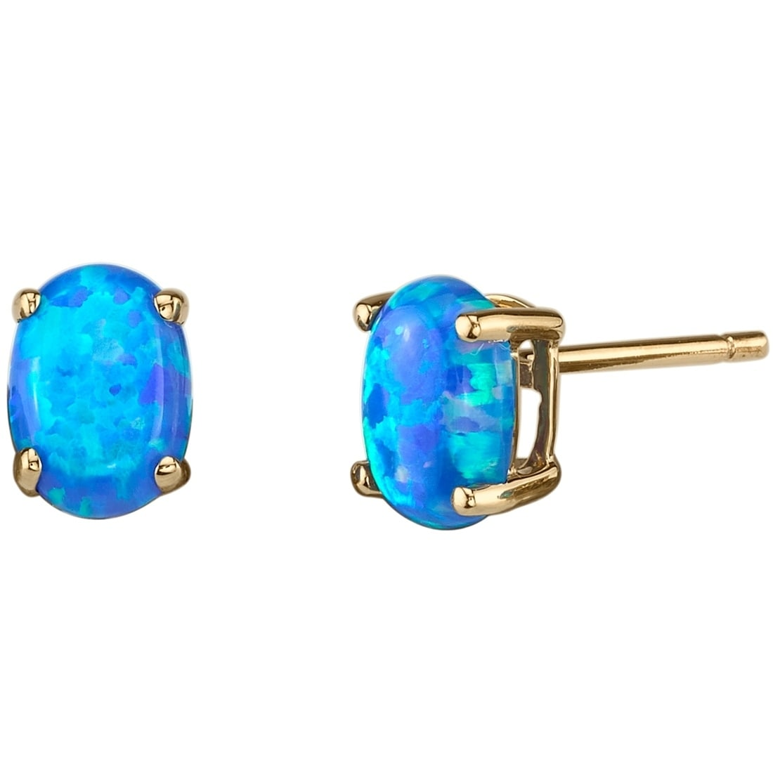 Solid Sterling Silver Rhodium Plated Blue Simulated Opal Stud Earrings