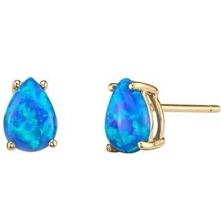 14K Oravo Yellow Gold Pear Shape Created Blue Opal Stud Earrings