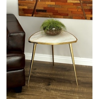 Modern 21 Inch Triangular Gold and White Accent Table by Studio 350