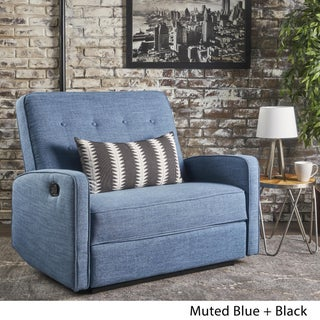 Calliope Buttoned Fabric 2-Seater Recliner Club Chair by Christopher Knight Home (Option: Muted Blue + Black)
