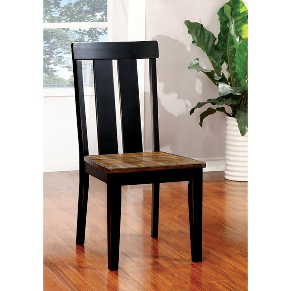 Furniture Of America Lara Farmhouse Style Two Tone Antique Oak Amp Black Dining Chair