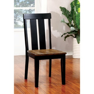 Lara Farmhouse Antique Black Slatted Dining Chair (Set of 2) by FOA