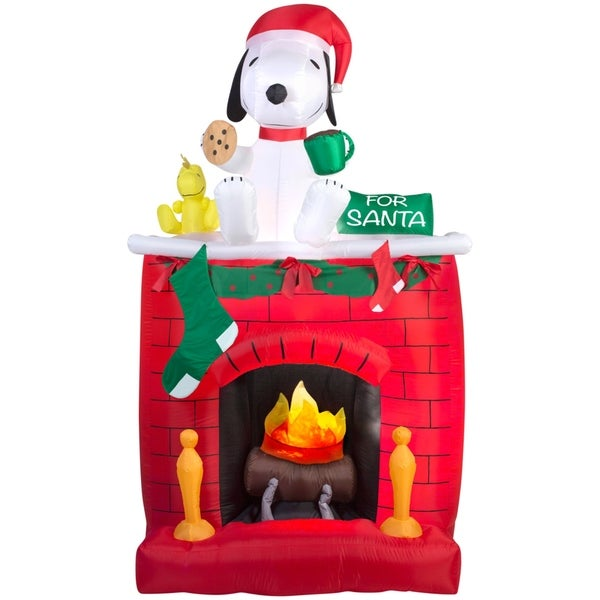 christmas airblown inflatable fire ice snoopy on fireplace scene - Christmas Airblown Inflatables
