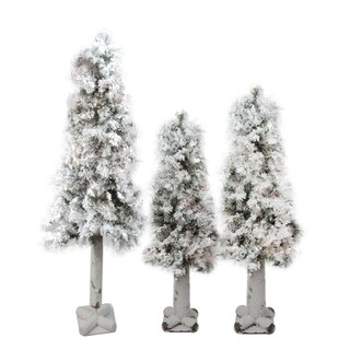 Set of 3 Flocked Woodland Alpine Artificial Christmas Trees 3' 4' and 5' - Unlit