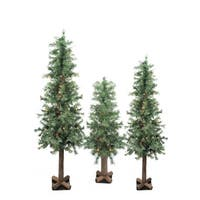 Set of 3 Pre-Lit Woodland Alpine Artificial Christmas Trees 3'  4' and 5' - Multi-Color Lights