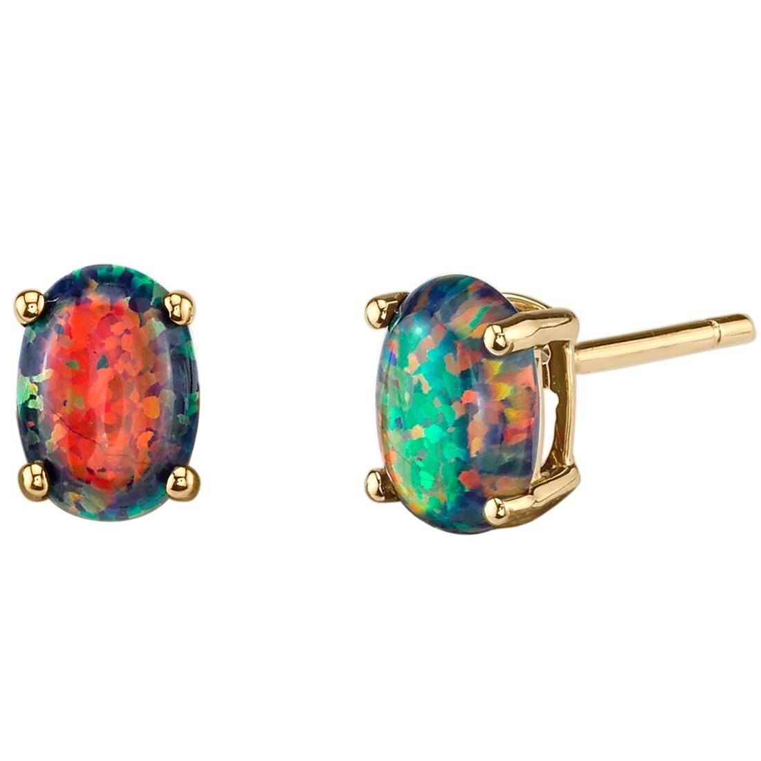 14k Oravo Yellow Gold Oval Shape Created Black Opal Stud Earrings