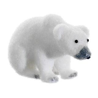 "9"" Snow Drift White Sitting Polar Bear Table Top Christmas Figure Decoration"