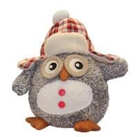 "12"" Adorable Gray Owl w/ Plaid Bomber Cap Plush Table Top Christmas Figure"