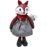 "16.5"" Charming Plaid Country Girl Fox Decorative Christmas Tabletop Figure"