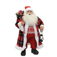 """24.5"""" Santa Claus with Red and Black Checked Coat Christmas Tabletop Decoration"""