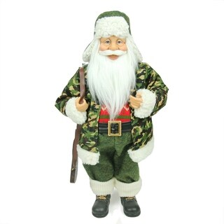 "18.25"" Santa Claus in Camouflage with Hunting Rifle Christmas Decoration"