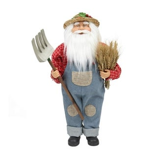 """18"""" Country Heritage Santa Claus Holding a Sheaf of Wheat Christmas Decoration"""