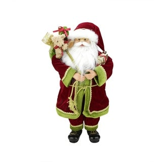 "24"" Grand Imperial Red Green and Gold Standing Santa Claus Christmas Figure with Gift Bag"