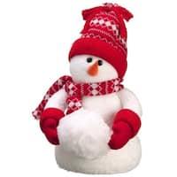 "14"" Table Top Knit Cap Winter Snowman Christmas Figure"